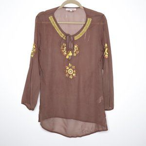 OndadeMar | Embroidered Hi-Lo Cover Up in Taupe S
